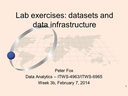 1 Peter Fox Data Analytics – ITWS-4963/ITWS-6965 Week 3b, February 7, 2014 Lab exercises: datasets and data infrastructure.