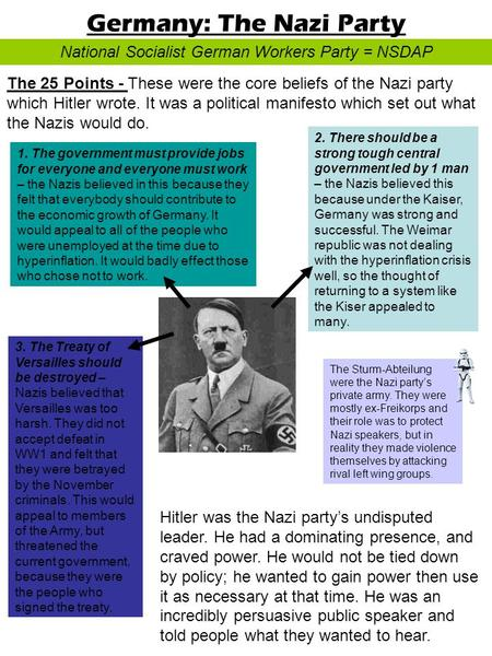 an analysis and history of the national socialist party the nazis History origins and early existence: 1918-1923  many sa men took the nazis' socialist rhetoric seriously at this time,  after the nazi party came to national.