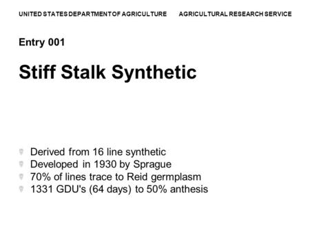 UNITED STATES DEPARTMENT OF AGRICULTURE AGRICULTURAL RESEARCH SERVICE Entry 001 Stiff Stalk Synthetic Derived from 16 line synthetic Developed in 1930.
