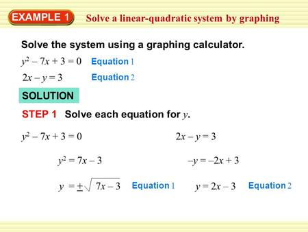 EXAMPLE 1 Solve a linear-quadratic system by graphing Solve the system using a graphing calculator. y 2 – 7x + 3 = 0 Equation 1 2x – y = 3 Equation 2 SOLUTION.
