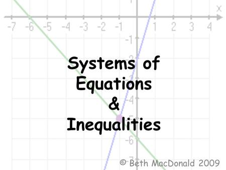 Systems of Equations & Inequalities © Beth MacDonald 2009.