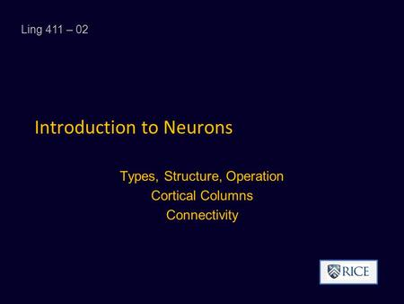 Introduction to Neurons Types, Structure, Operation Cortical Columns Connectivity Ling 411 – 02.