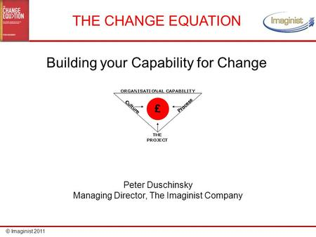 © Imaginist 2011 THE CHANGE EQUATION Building your Capability for Change Peter Duschinsky Managing Director, The Imaginist Company.
