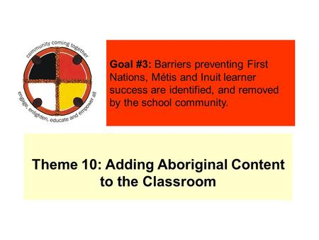 Theme 10: Adding Aboriginal Content to the Classroom Goal #3: Barriers preventing First Nations, Métis and Inuit learner success are identified, and removed.