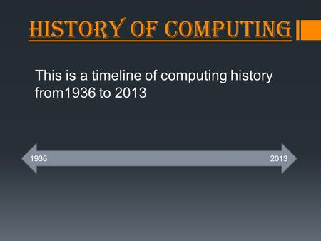 History of Computing This is a timeline of computing history from1936 to 2013 19362013.