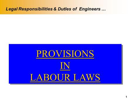 1 PROVISIONSIN LABOUR LAWS PROVISIONSIN Legal Responsibilities & DutIes of Engineers …