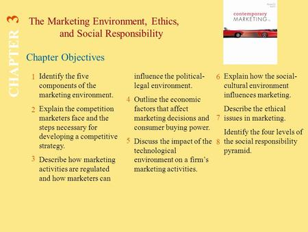 Chapter Objectives The Marketing Environment, Ethics, and Social Responsibility CHAPTER 3 1 2 3 4 6 7 8 Identify the five components of the marketing environment.