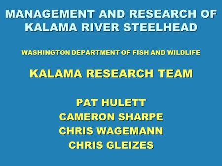 MANAGEMENT AND RESEARCH OF KALAMA RIVER STEELHEAD WASHINGTON DEPARTMENT OF FISH AND WILDLIFE KALAMA RESEARCH TEAM PAT HULETT CAMERON SHARPE CHRIS WAGEMANN.