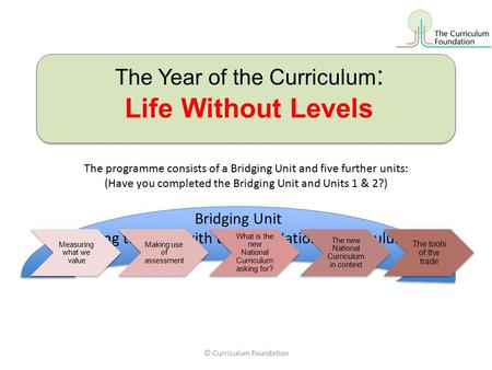 The Year of the Curriculum : Life Without Levels The programme consists of a Bridging Unit and five further units: (Have you completed the Bridging Unit.