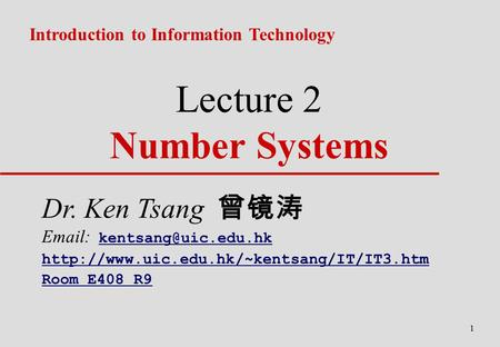 Lecture 2 Number Systems