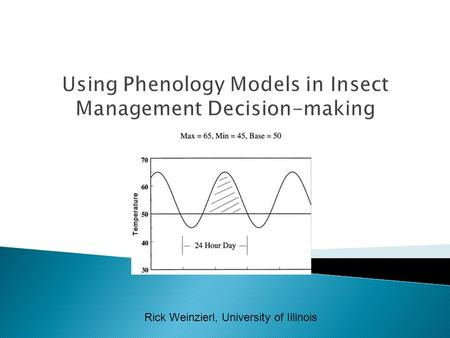 Rick Weinzierl, University of Illinois. Know:  Insect growth and development are temperature-dependent.  The developmental threshold for a phenology.