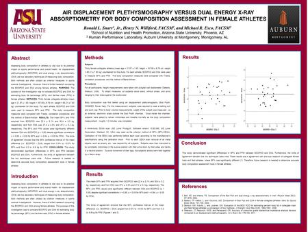 Abstract AIR DISPLACEMENT PLETHYSMOGRAPHY VERSUS DUAL ENERGY X-RAY ABSORPTIOMETRY FOR BODY COMPOSITION ASSESSMENT IN FEMALE ATHLETES Ronald L. Snarr 1,
