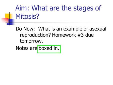 Aim: What are the stages of Mitosis?
