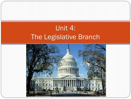 Unit 4: The Legislative Branch. Introduction to Congress Legal Basis of Congress Found in Article I of Constitution A Bicameral Congress Definition: a.