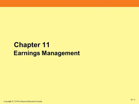 Chapter 11 Earnings Management