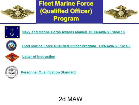 Fleet Marine Force (Qualified Officer) Program 2d MAW Navy and Marine Corps Awards Manual SECNAVINST 1650.1GFleet Marine Force Qualified Officer Program.