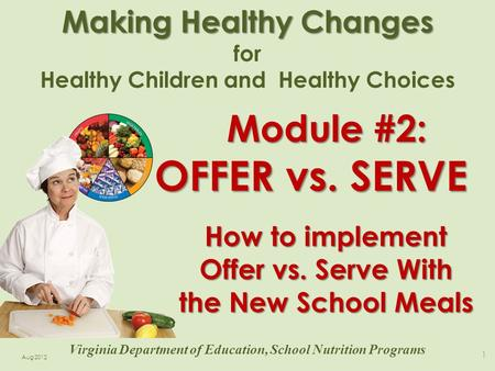 Making Healthy Changes for Healthy Children and Healthy Choices 1 Virginia Department of Education, School Nutrition Programs Aug 2012 How to implement.