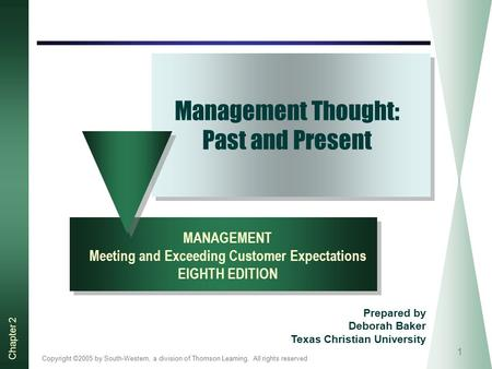 Copyright ©2005 by South-Western, a division of Thomson Learning. All rights reserved Chapter 2 1 Management Thought: Past and Present MANAGEMENT Meeting.
