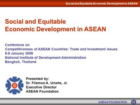 Social and Equitable Economic Development in ASEAN