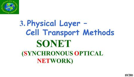 3. Physical Layer – Cell Transport Methods SONET (SYNCHRONOUS OPTICAL NETWORK)