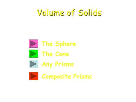 The Sphere The Cone Any Prisms Volume of Solids Composite Prisms.