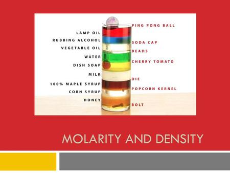 MOLARITY AND DENSITY. Header ChemistryName Experiment #17Date __ Mods__ Molarity and DensityPartner.
