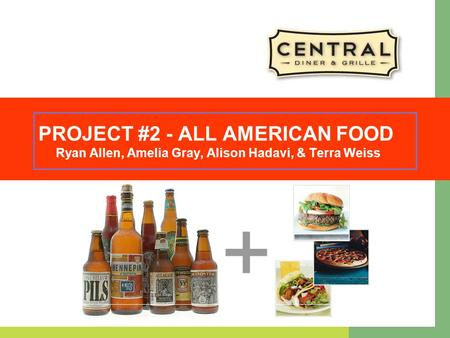 PROJECT #2 - ALL AMERICAN FOOD Ryan Allen, Amelia Gray, Alison Hadavi, & Terra Weiss.