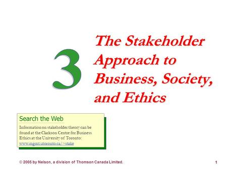 © 2005 by Nelson, a division of Thomson Canada Limited. 1 The Stakeholder Approach to Business, Society, and Ethics Search the Web Information on stakeholder.