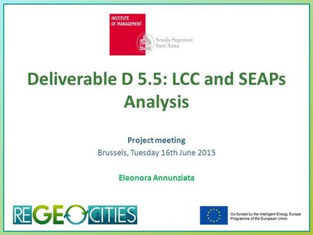 Deliverable D 5.5: LCC and SEAPs Analysis Project meeting Brussels, Tuesday 16th June 2015 Eleonora Annunziata.