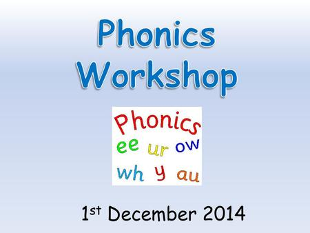 1 st December 2014. Today we are going to learn… What is phonics? How we teach phonics in school Pronunciation of sounds The terminology of phonics Different.
