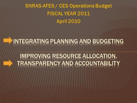 SNRAS-AFES / CES Operations Budget FISCAL YEAR 2011 April 2010.