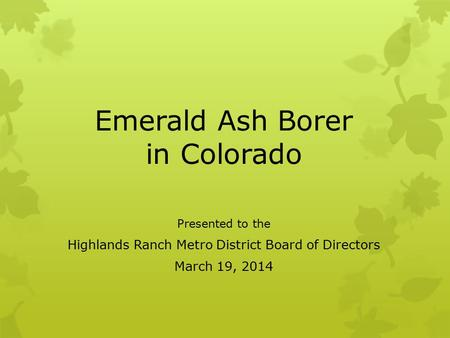Emerald Ash Borer in Colorado Presented to the Highlands Ranch Metro District Board of Directors March 19, 2014.