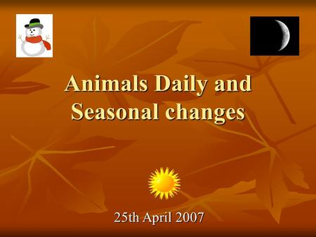 Animals Daily and Seasonal changes 25th April 2007.