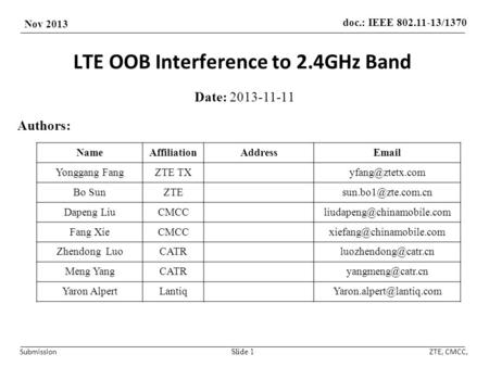 Doc.: IEEE 802.11-13/1370 Nov 2013 SubmissionZTE, CMCC, LTE OOB Interference to 2.4GHz Band Date: 2013-11-11 Slide 1 Authors: NameAffiliationAddressEmail.