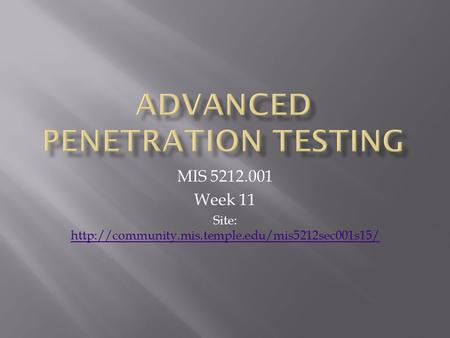 MIS 5212.001 Week 11 Site: