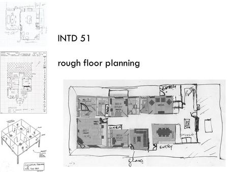 INTD 51 rough floor planning. after the pre-planning process is complete, it is time to develop a floor plan that satisfies the needs mapped out through: