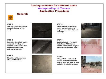 Coating schemes for different areas Waterproofing of Terrace Application Procedure: General: STEP 4 Clean, dust free surface, ready for application of.