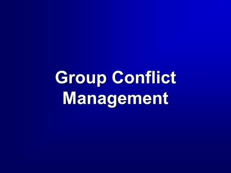 Group Conflict Management. 2 3 High HighAssertiveness Concern for Self Low LowAssertiveness Low Cooperation High Cooperation Concern for Others Concern.
