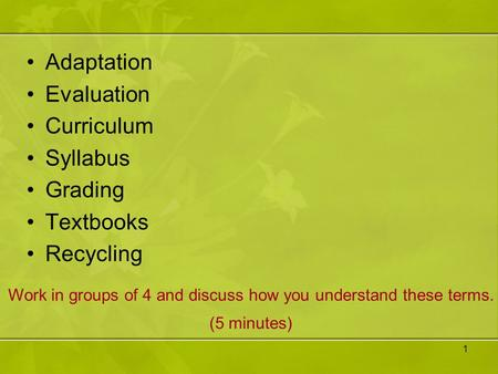1 Adaptation Evaluation Curriculum Syllabus Grading Textbooks Recycling Work in groups of 4 and discuss how you understand these terms. (5 minutes)