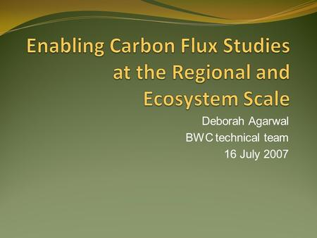 Deborah Agarwal BWC technical team 16 July 2007. 1.Applications of eddy covariance measurements, Part 1: Lecture on Analyzing and Interpreting CO2 Flux.