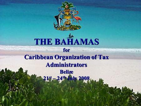 THE BAHAMAS for Caribbean Organization of Tax Administrators Belize 21 st – 24 th July 2008.