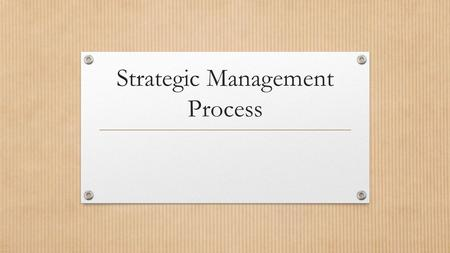 Strategic Management Process. Remember, the first step is Strategy Formulation.