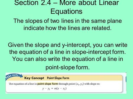 Section 2.4 – More about Linear Equations
