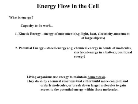 Energy Flow in the Cell What is energy? Capacity to do work... 1. Kinetic Energy - energy of movement (e.g. light, heat, electricity, movement of large.