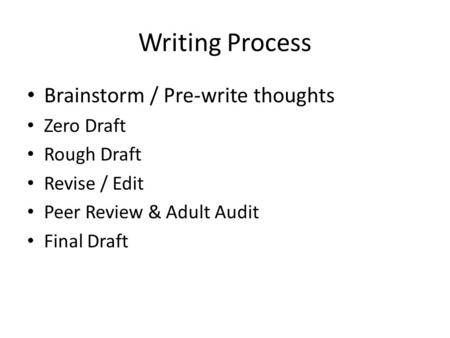 Writing Process Brainstorm / Pre-write thoughts Zero Draft Rough Draft Revise / Edit Peer Review & Adult Audit Final Draft.