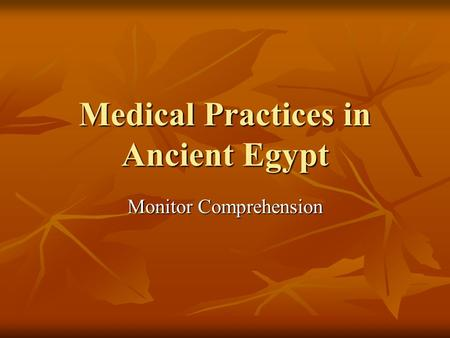 Medical Practices in Ancient Egypt