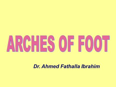 Dr. Ahmed Fathalla Ibrahim. FUNCTIONS OF FOOT Support body weightSupport body weight Serves as a lever to propel the body forward in walking & runningServes.