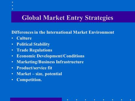 5 Stages of international market development