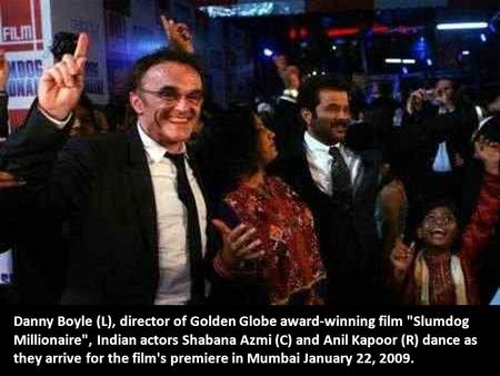 Danny Boyle (L), director of Golden Globe award-winning film Slumdog Millionaire, Indian actors Shabana Azmi (C) and Anil Kapoor (R) dance as they arrive.