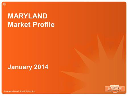 MARYLAND Market Profile January 2014. MARYLAND Market Service Map 2.38 Million Potential Customers.